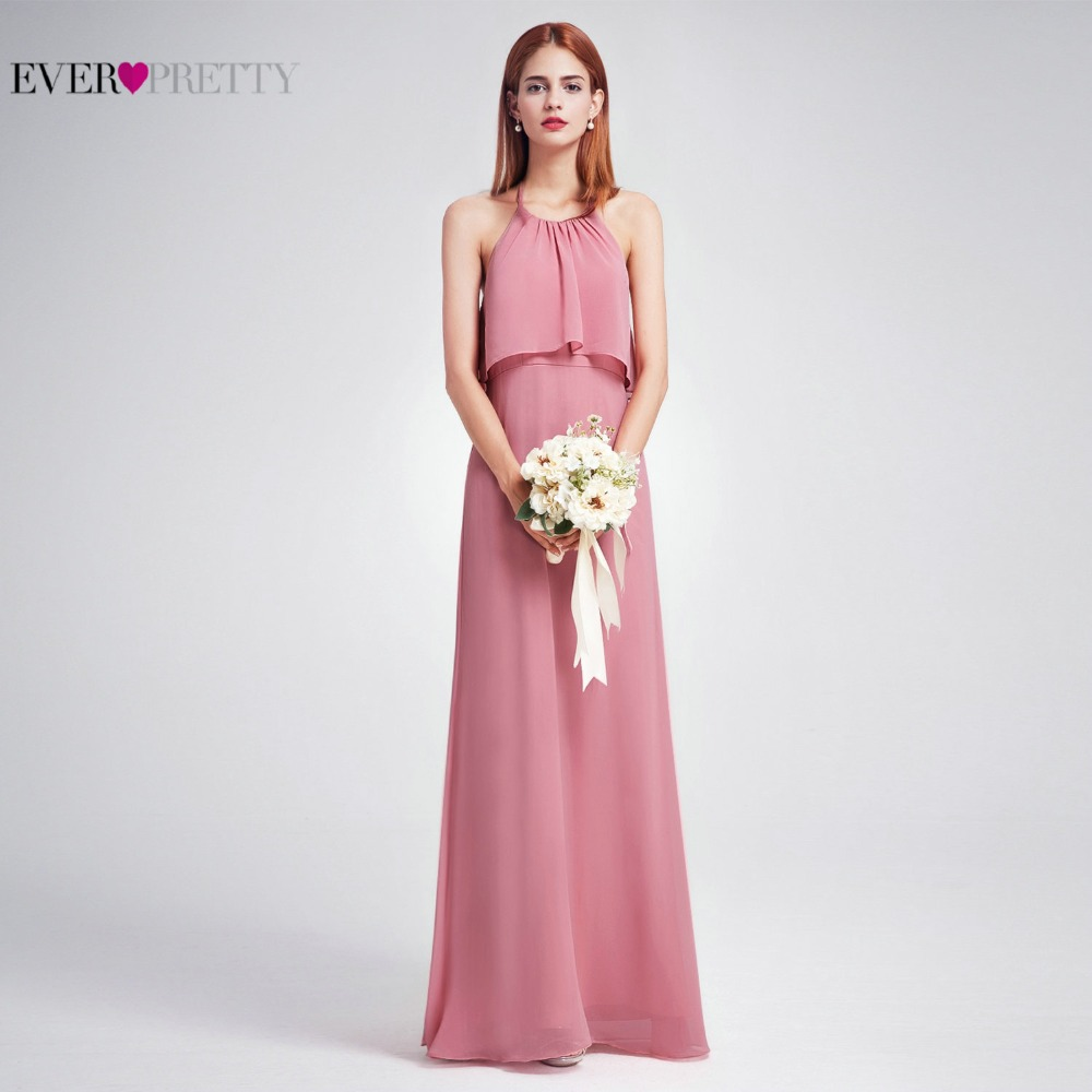 2018 New Beach Style Chiffon   Bridesmaid     Dresses   Long Ever Pretty EP07129DR Floor Length Backless Elegant Wedding Guest   Dress