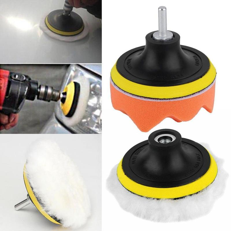 4Pcs/Set 3 Inch Car Polishing Pad Auto Car Polish Pad Sponge Wheel Kit With M10 Drill Adapter Buffer High Gross Droppingshipping