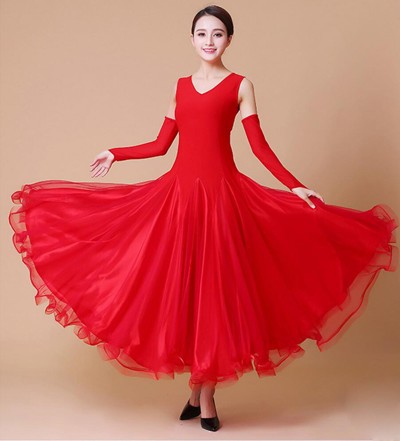 Ballroom Competition Dance Dresses Women 2017 Purple Red High Quality Custom Made Waltz Ballroom Dance Dresses