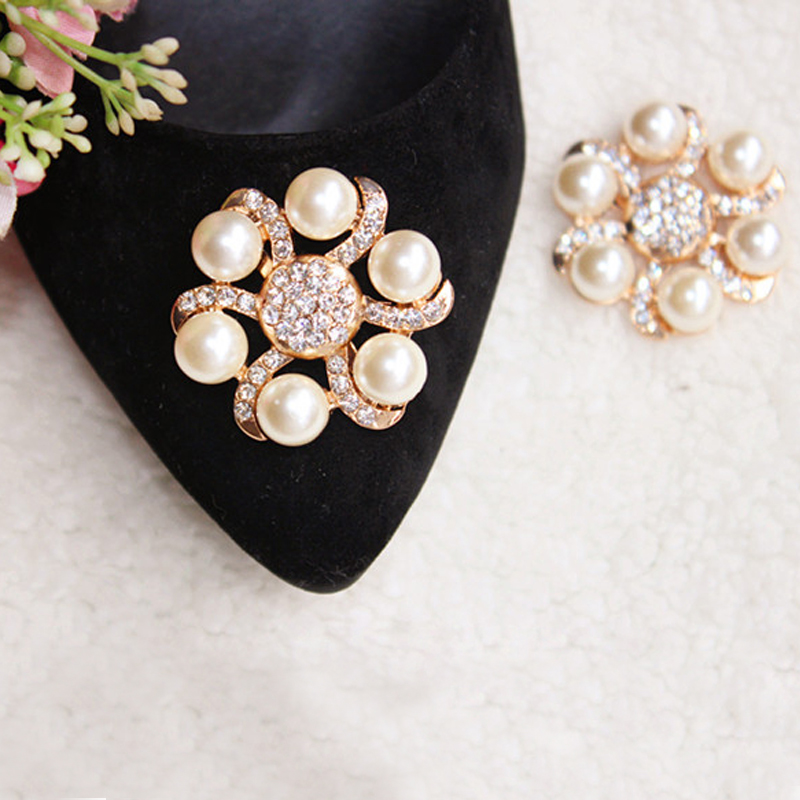 BSAID1 Piece Shoes Flower Rhinestones Clip Decoration Buckle Crystal Pearl Women Decorative Accessories Insert Fitting Charm stylish rhinestones faux pearl lace flower shape embellished baseball cap for women