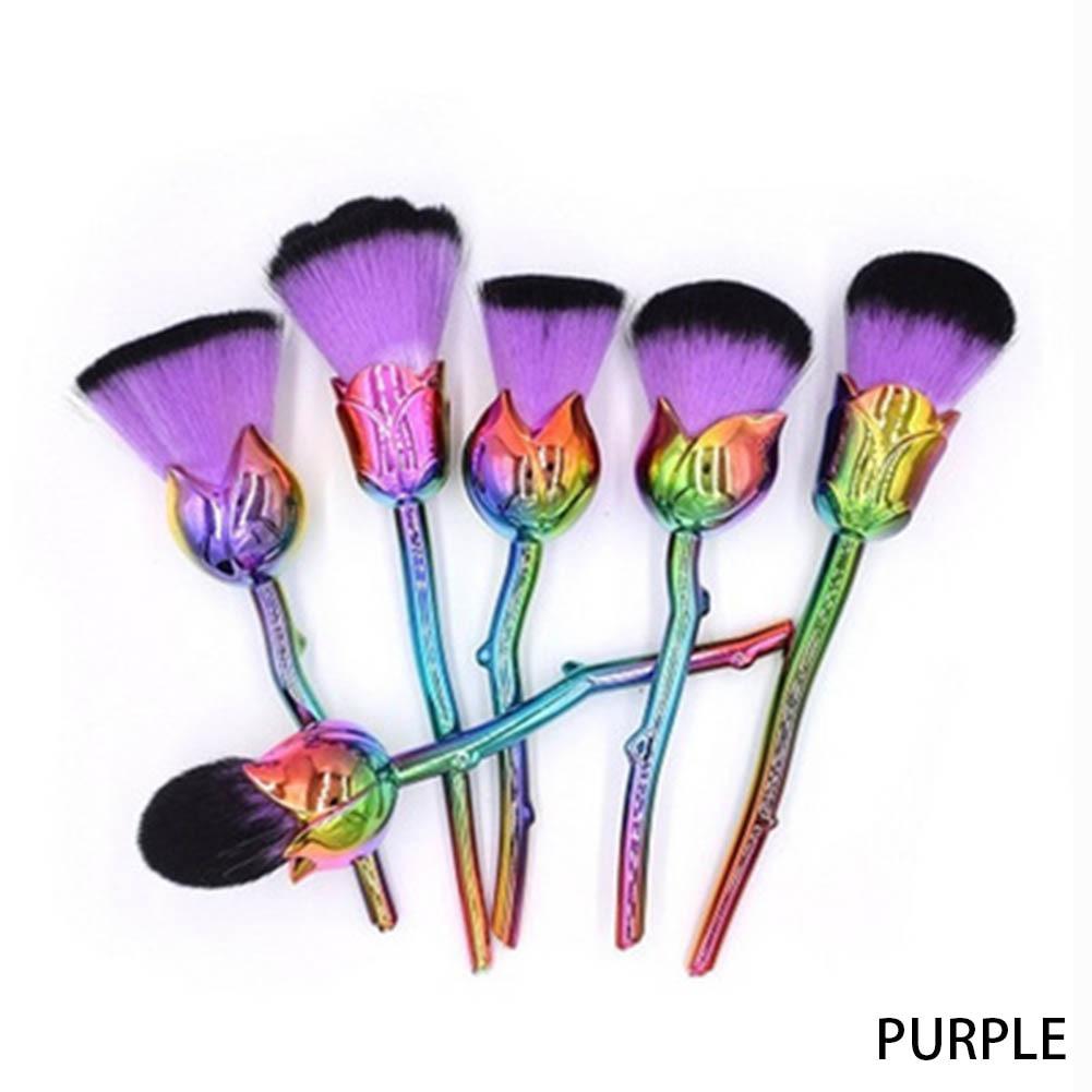 6pcs Metal Makeup Brushes Set Multicolored Rose Flower Shape Make Up Foundation Cosmetic Powder Brushes with Free Brush New