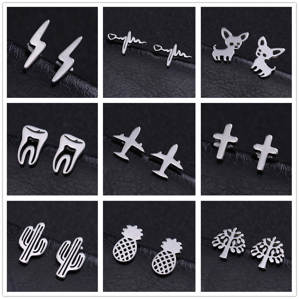 Skyrim Cross Airplane Chihuahua Small Earring Stainless Steel Cactus Mini Ear Stud Earrings Fashion Jewelry Women Girls Gift