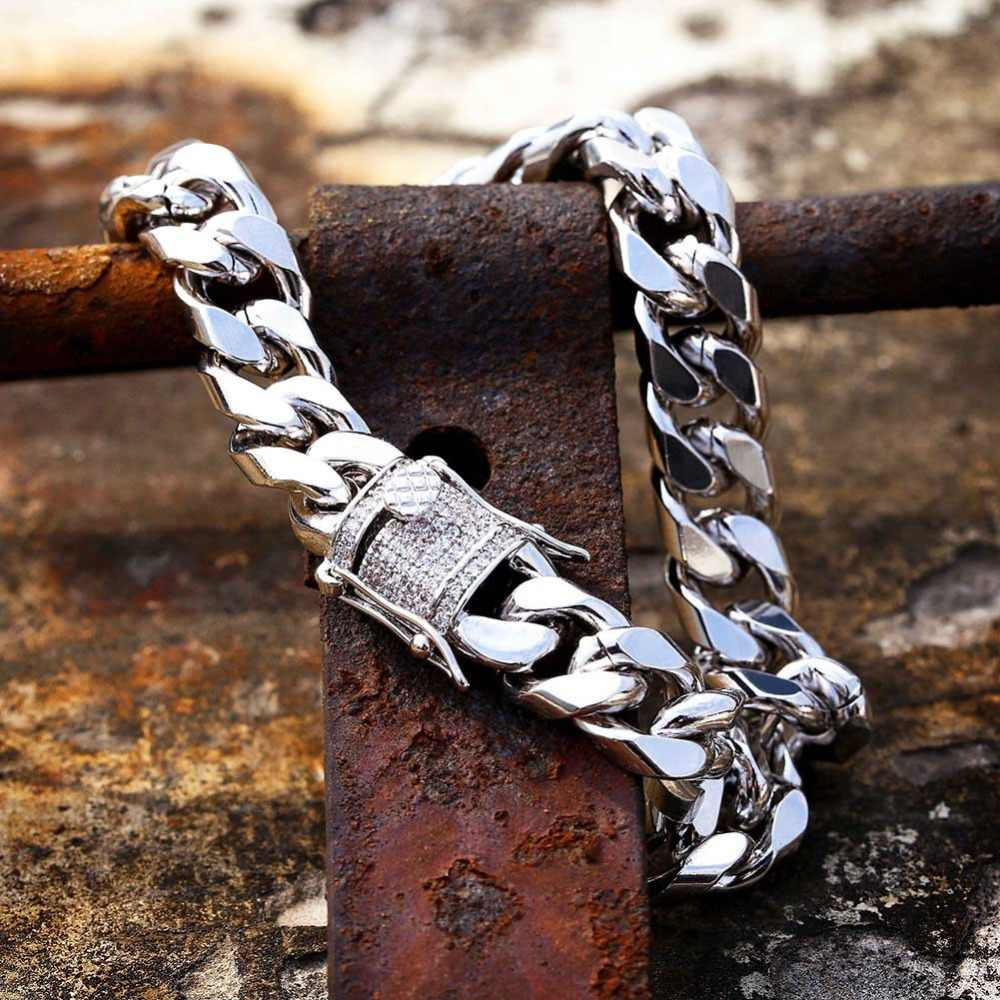 MISSFOX Hiphop mężczyźni 10mm Miami kuba bransoletki bransoletki biżuteria klamra opaska na ramię złoty 18K pozłacane miedzi metalowe marki bransoletka