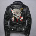 2016 new arrival skulls motorcycle jacket men Oblique zipper slim short genuine leather jacket men punk leather coats with belt