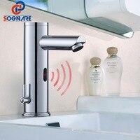 SOGNARE датчик Экономии Воды Кран Автоматический Инфракрасный датчик холодной и горячей хром полированной воды смесителя батарея мощность B201C