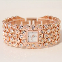 Womens Quartz Watch New Hot High-End Linked List Full Rhinestone Pearl Mother-Of-Pearl Small Dial Female