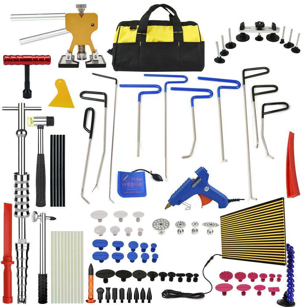 PDR Outils Ensemble Paintless Dent De Réparation De Voiture Dent Élimination Main Tool Set LED Réflecteur Conseil Thermofusible Bâtons de Colle