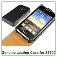 Genuine Leather Flip Case For Samsung Galaxy Ace Plus S7500 With Magnic Closure Free Shipping