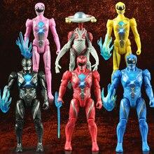 6PCS/set Power Model Dinosaur team Action Figures Dolls with Led Light figures toys for children gift