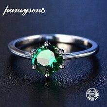 bfb4b1c7492a PANSYSEN Esmeralda anillo de plata 925 Ringen 7 MM dedo mujeres de plata  esterlina anillos de diamantes