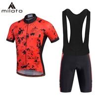 MILOTO Cycling Jerseys Set Sumner 2019 Pro team Short Sleeve Mountain Bike Bicycle Clothing Sportswear Men's cycling equipment