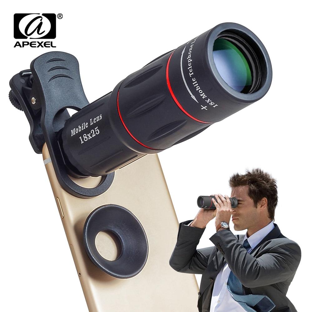 APEXEL 10pcs lot 18X Telescope Zoom Mobile Phone Lens for iPhone Samsung Smartphones with tripod 18XTZJ