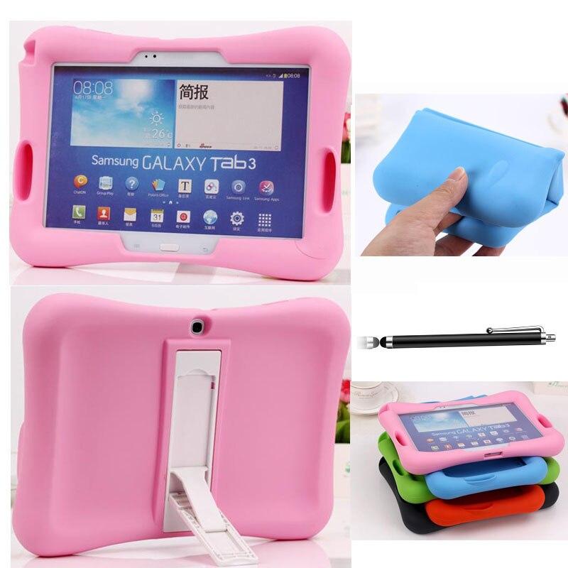 Kid Safe Béquille Couverture En Caoutchouc Souple Pour Samsung Galaxy Tab 3 10.1 P5200 4 7.0 T230 T580 S 10.5 T800 P3200 EVA Cas Tablet