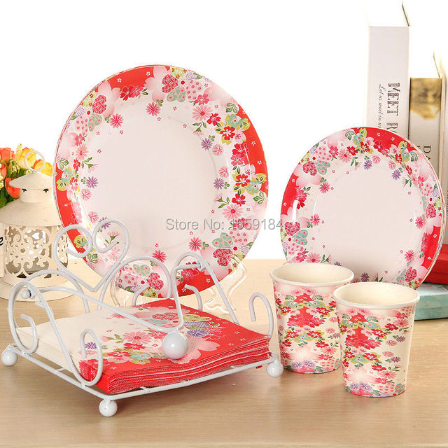 2016 New Design!! Red Color Flower Party Tableware Sets Paper Cup ...