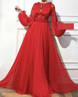 Evening Dress 2019 Formal Occasion Dresses Custom Made Party Gowns Long Sleeve Red Chiffon A Line Appliques