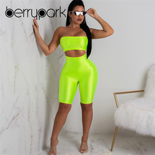 BerryPark 2019 Summer Light Green Hollow Out Sexy Playsuit Strapless Sleeveless Backless Bodycon Short Jumpsuit Drop