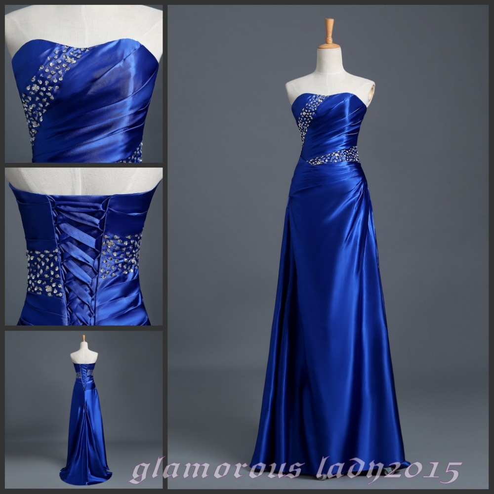 7 color cheap long bridesmaid dresses silver gray royal for Royal blue and silver wedding dresses