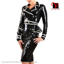 Sexy Latex jacket skirt with belts two Piece Sets Rubber clothes top shirt suit bodycon playsuit blouse clothing teacher uniform