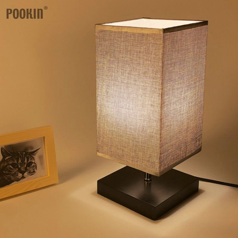 LED Fashionable Desk Lamp Exquisite Square Table Lamp Decorative Bedside Lamps with Linen Lampshade and Iron Base E27 Socket цена