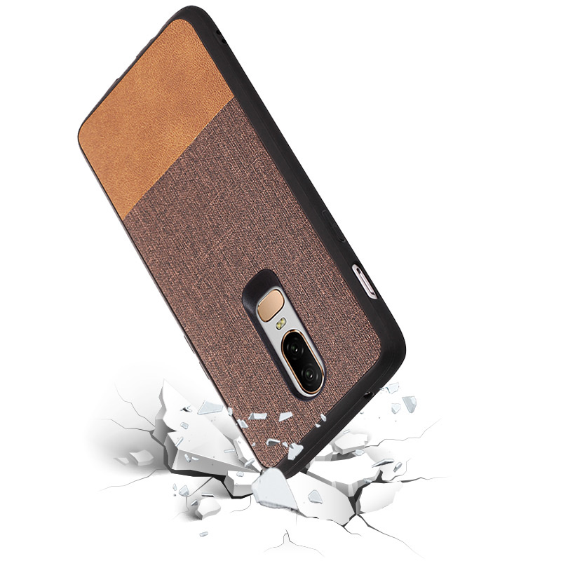 PHOPEER Silicone Case for OnePlus 6 case cover for OnePlus6 One Plus 6 Soft TPU edge shockproof business fabric back cover in Fitted Cases from Cellphones Telecommunications