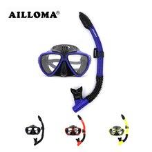 AILLOMA Камера Дайвинг набор маска, трубка силиконовая оборудования с полной сухой трубкой плавание анти-туман очки