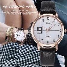 Новая мода Простой Стиль женское платье часы Повседневное кожа аналоговые кварцевые наручные часы Подарочные часы Relogio Feminino Горячие