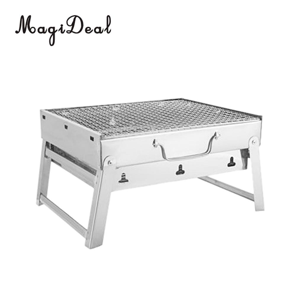 MagiDeal Barbecue Charcoal Grill Folding Portable Stainless Steel BBQ Tools for Outdoor Cooking Camping Hiking Picnic Beach 3 5 people outdoor picnic thick stainless steel barbecue grill portable folding grill barbecue tools
