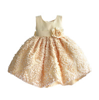 Christmas Girl Party Dres Apricot Red Petal Princess Kids Children Dresses For Girls Clothes Ball Gown