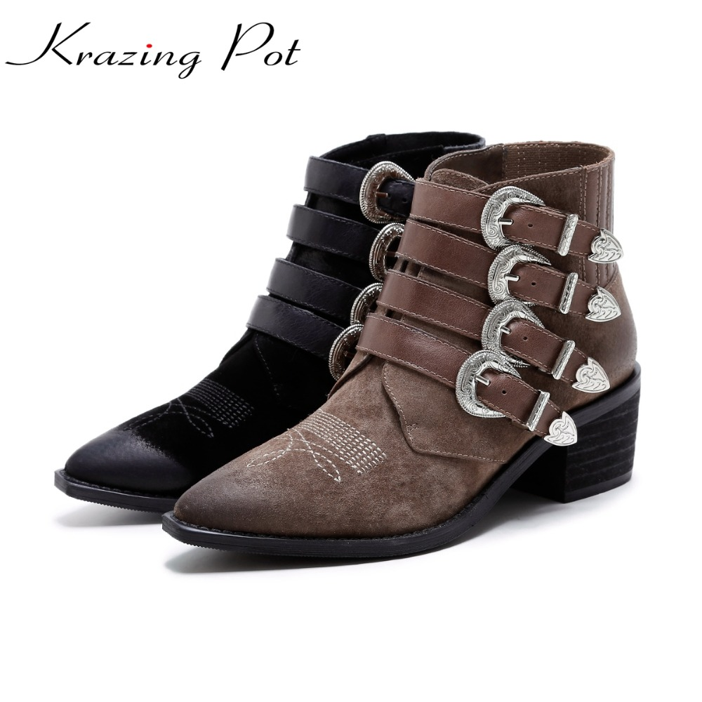 Krazing Pot 2018 genuine leather shoes women med heels mixed color metal buckle pointed toe ankle beauty cozy Chelsea boots L80 women black shoes sheepskin genuine leather women shoes suede pointed toe rivet solid color buckle ladies causal ankle boots