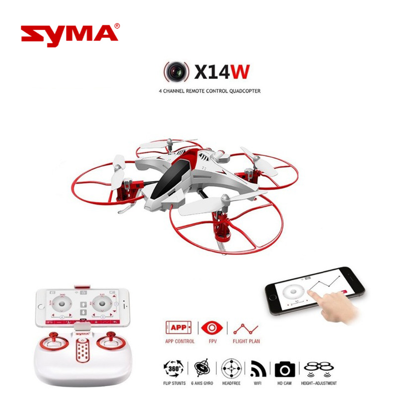 Original SYMA X14W Drone with Camera WiFi FPV 720P HD RC Helicopter Waypoints Headless G-sensor Mode RTF Quadcopter Boys Toys original syma x8sw wifi fpv hd camera drone 2 4g 4ch 6 axis rc quadcopter with barometer set height mode rtf toys