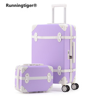 20''22''24''26''ABS Vintage Rolling Luggage Trolley Travel Bag Retro Suitcase with Spinner Wheels Women carry on cosmetic case
