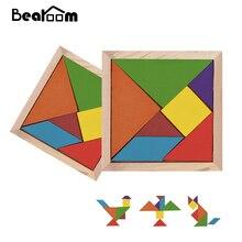 Bearoom Puzzle játék Tangram Oktatási játékok 3D Puzzle Diy fából készült játékok Geometrikus alakú Homorítófűrész játék Gyerekek fából készült rejtvények