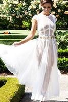 2016 Lady Robe De Soiree Longue Summer Ombre O Neck Bohemian Sheer Lace Long Chiffon Maxi