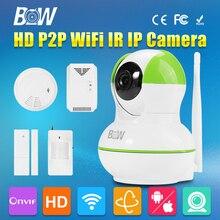 Cámara de Vigilancia inalámbrica Wifi 720 P HD 1.0 Megapíxeles de cámara de Seguridad CCTV de Movimiento Por Infrarrojos y Sensor de La Puerta + Gas y Humo Detector de Alarma