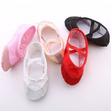 Girls Children Woman dance shoes Leather head soft sole Canvas Flat Slippers Ballet dance Shoes For Yoga Gym dance Teacher shoes