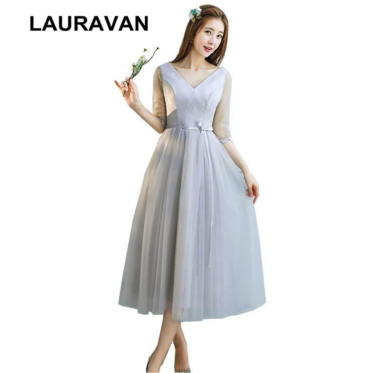 Robe De Soiree Gray Latest Bridesmaid Dress Short Elegant Gowns 2019 New Arrival Formal Occasion Tea Party Dresses Ball Gown