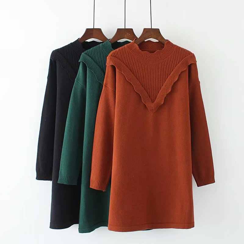 S69 осень-зима Свободные свитеры 4XL плюс Размеры Женская одежда Модная свободная вязанные пуловеры с узором платье CX124