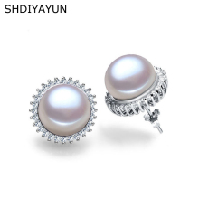 SHDIYAYUN Fashion Pearl Earrings For Women Classic Audrey Hepburn Freshwater pearl 925Sterling Silver Jewelry