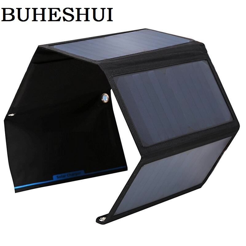 BUHESHUI Foldable 28W Solar Panel Charger Bag Dual USB Output Portable Sunpower Solar Charger For 5V Device Free Shipping buheshui 40w sunpower solar panel charger usb 5v