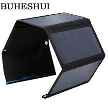 BUHESHUI Foldable 28W Solar Panel Charger Bag Dual USB Output Portable Sunpower Solar Charger For 5V