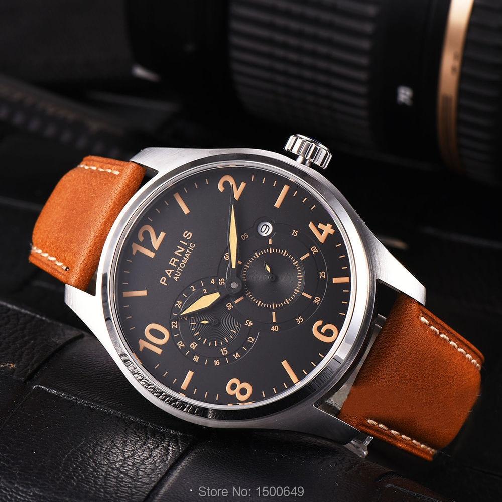 Parnis Miyota 8219 automatyczne mechaniczne 44mm mężczyźni zegarek na rękę 24 godziny mały druga w Zegarki mechaniczne od Zegarki na  Grupa 1