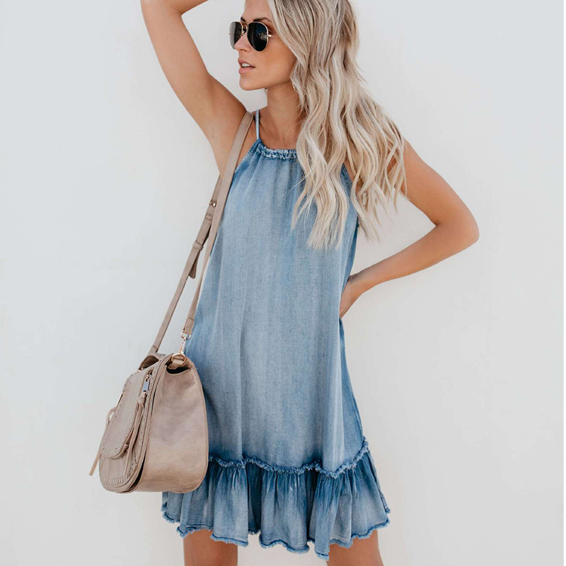 1474.68руб. 50% СКИДКА|Летнее женское платье из джинсовой ткани, винтажное повседневное облегающее платье с лямкой на шее|Платья| |  - AliExpress