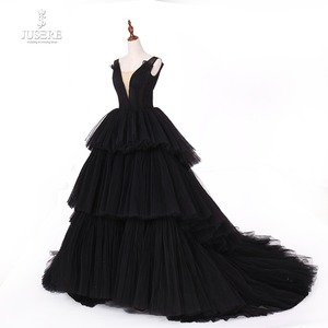 Image 3 - Jusere fotos reais preto gótico maxi vestido de baile vestidos cansado saia copo vestido de noite com cauda 2019 novo