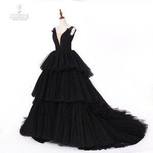Image 3 - Jusere fotos reales negro gótico Maxi vestido de graduación vestidos de copa cansado falda vestido de noche con cola 2019 nuevo