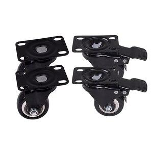 Image 2 - 4 قطعة 1.6in عجلات محورية دوارة متينة مع قفل مزدوج للسلامة ورغوة البولي يوريثين لا توجد عجلات ضوضاء ، تحمل الحمولة 440 رطل