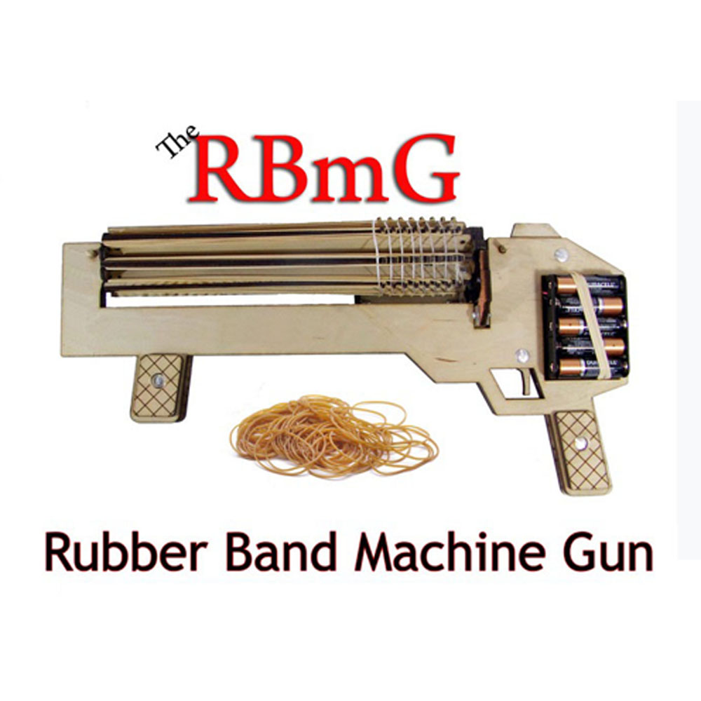 1Piece RBMG Rubber Band Gun DIY Wooden Gun POWER SHOT Toy Blaster Pistol Building Kits Machine Guns Novelty Gifts