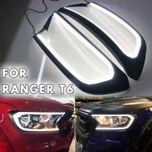 1Pair Brighter Black HeadLight LED Cover Trim ABS Lamp Hood For FORD For RANGER T6 WILDTRAK 2015 2016 2017 2018
