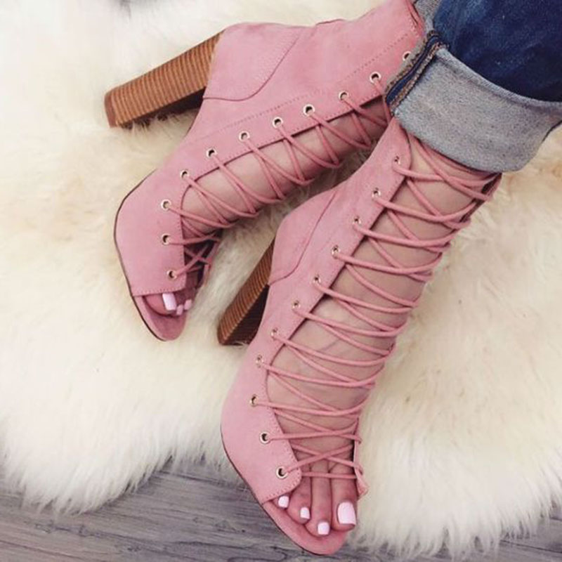 Big Size 10 Peep Toe Lace-up Ankle Boots Women Cut-out Thick Heels Gladiator Sandals Boots Fashion Dress Shoes Pink pink cut out