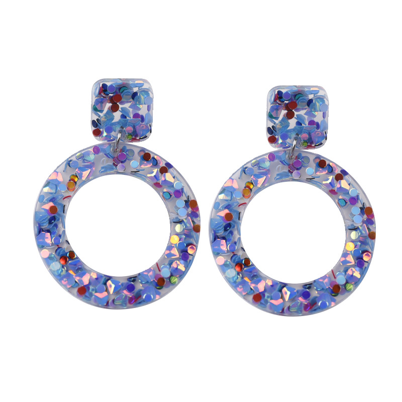 Cute acrylic Resin Geometry Round Transparent Earrings for Women Girl Ear Jewelry Brincos Aretes de mujer modernos 2019 New