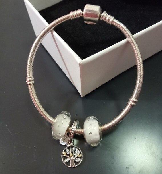 Authentique 925 Sterling Mode Européenne Perles Bracelet Vintage BRICOLAGE Cristal Bijoux En Argent Serpent Chaîne Charme Bracelet